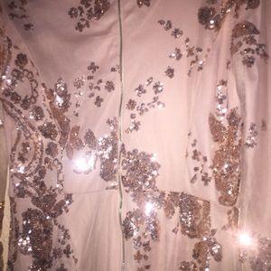 246664478b8 Miami Boutique Pants - Excellent Sequin Sheer Jumpsuit Rose Gold Plunge
